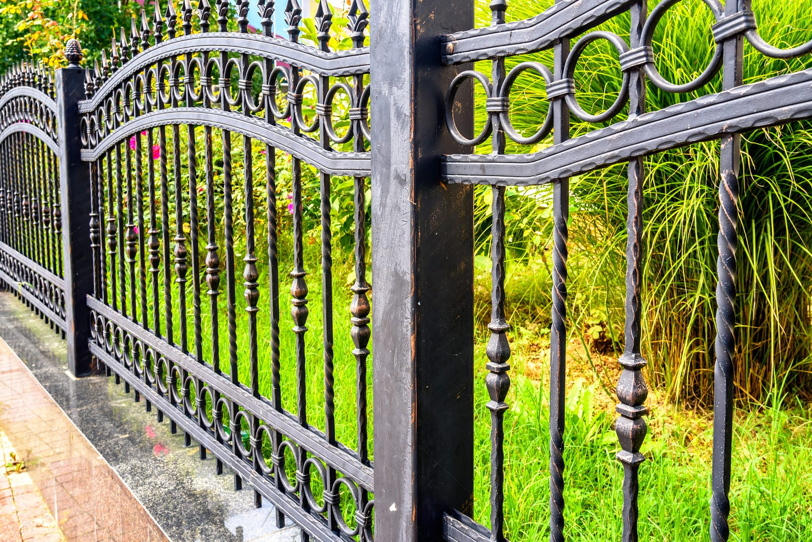 bigstock Wrought Iron Fence Black Meta 258218020
