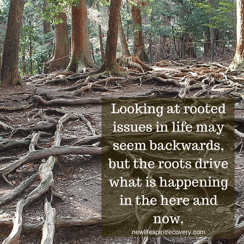 Looking at rooted issues in life may seem backwards but the roots drive what is happening in the here and now.